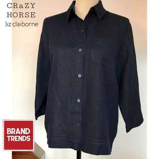 CRaZY HORSE A Liz Claisorne Company 3/4 Sleeve Top/Blouse Navy Blue