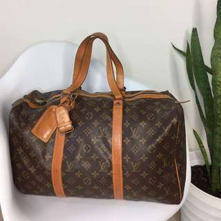 真品 Auth Louis Vuitton LV keepall 40 travel bag 復古旅行袋 可側背