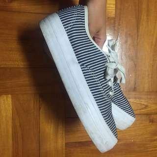 🚚 厚底鞋 條紋 藍白