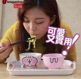 U Magazine P助及粉紅兔兔Cutie Bowl Set (1陶瓷碗1膠碗) Umagazine別注版