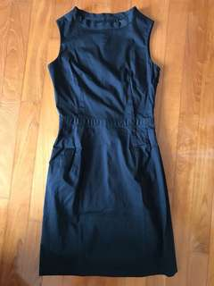 SOUTHAVEN Black Military Structured Little Black Sleeveless Dress M