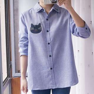 Plus Size 4X GSS Nautical Cat Meow Kitty Dolly Korea Oversize Shirt Top