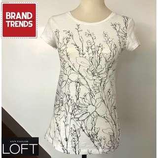 Ann Taylor LOFT White T-Shirt with Black Print