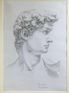 A SKETCH OF DAVID/unique artwork with frame/handcraft painting/ready to hang