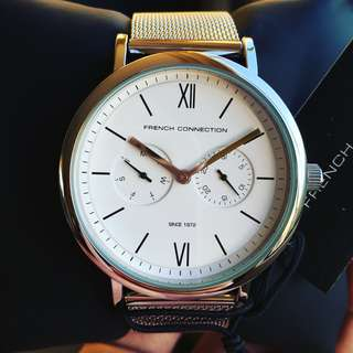 NEGOTIABLE-Brand New French Connection 42mm Silver White Stainless Steel Watch