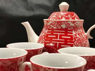 喜慶敬茶上頭十二件套裝 一set (茶壺,茶杯,碗)