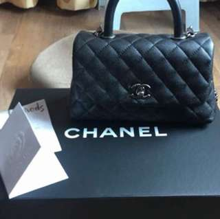 Chanel coco black mini with rhw