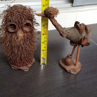 Handicrafts Owl and Ostrich from Australia