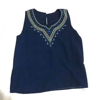 Navy Blue Sleeveless with Embroidery Detail