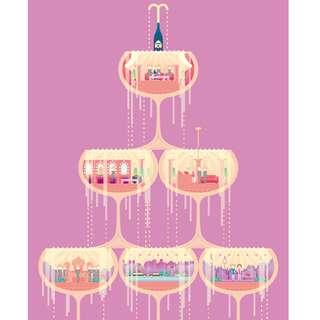 Artwork for room decoration: 3 tier champagne - A Japanese artwork