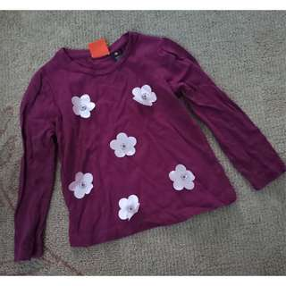 Violet cotton long sleeve with flower details