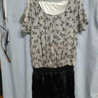 立體蝴蝶結雙口袋OL洋裝S