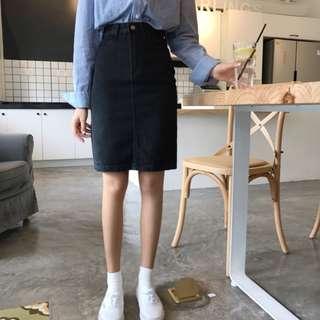 素色高腰顯瘦顯腿長牛仔裙