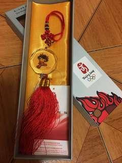 北京奧運紀念品 福娃水晶中國結