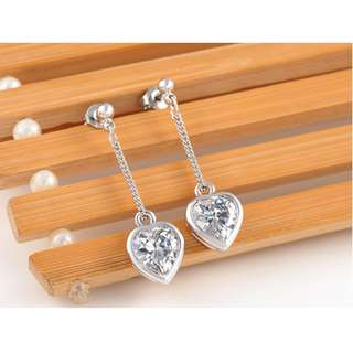 White Gold Plated Heart Crystal Earring