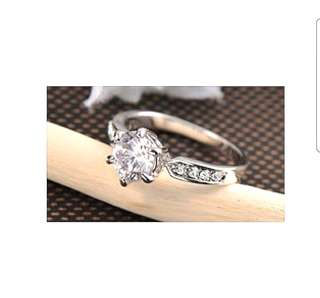 Platinum Plated Solitaire Diamond Ring