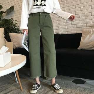 多色白/黑/軍綠直筒軍綠色不修邊長褲