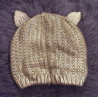 Zara Metallic Gold Knitted Cat Beanie Hat