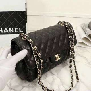 Chanel Jumbo Leather Classic Double Flap Bag- Black