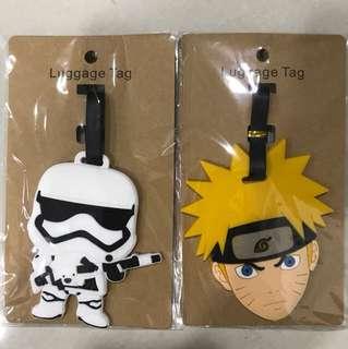 Star Wars and Naruto luggage tag