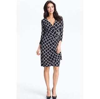 Maggy London Black & White Faux Wrap Dress