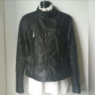 BN Biker Chic Vegan Leather Jacket Coat -  M size