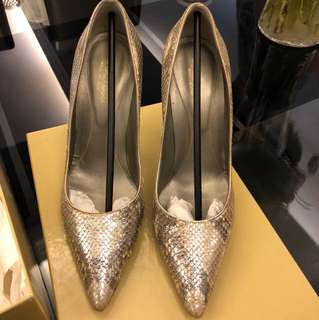Sergio Rossi Silver Leather Pump