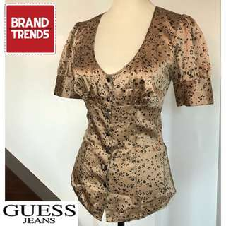 Guess Jeans Black and Brown Silk Blouse