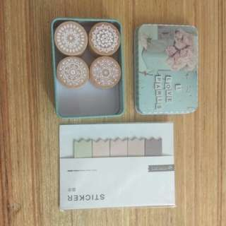 4 rubber stamps with metal box