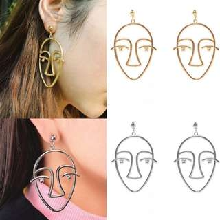 Round Hollow Face Earrings