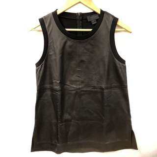 J.crew black leather vest size 4