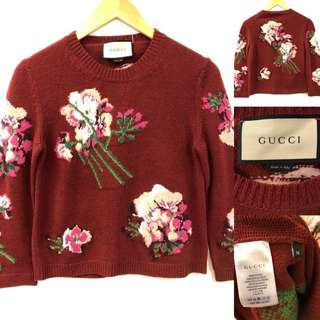 Gucci burgandy flowers knitted sweater size M