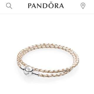 Pandora MOMENTS Pearl Double Woven Leather Bracelet with box