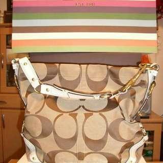 Authentic Coach Signature Slim Carly Bag Khaki/Beige/Brown 11648