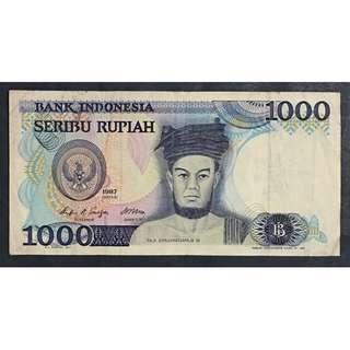 Indonesia 1987 1000 rupaih sh