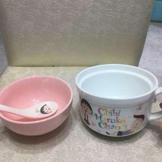 小丸子 正品 全新 陶瓷 飯碗 套裝 連匙羹