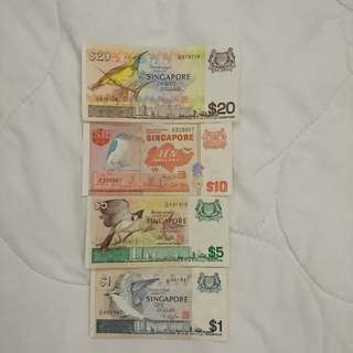 Singapore Bird Series Dollars Notes