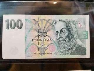 全新 UNC 1997 捷克 100克朗 Czech 100 Korun