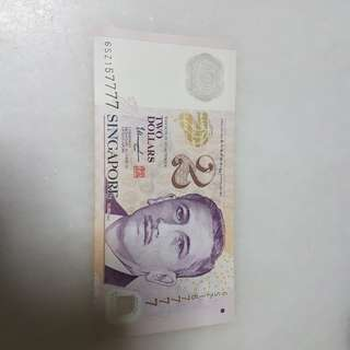$2 note 7777