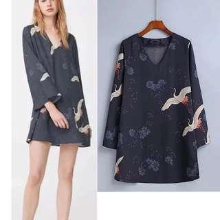 European v neck collar crane printing loose dress skirt