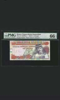 Brunei lst series Red banknotes $10 lst and last date  PMG66 EPQ