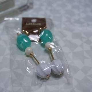 日本福袋 夾式壓克力長耳環