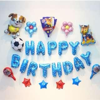 (In Stock)Paw Patrol Party Decoration Set-Happy Birthday