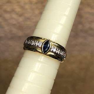 18kt diamond sapphire ring