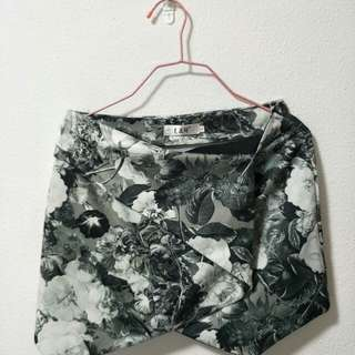 B&W floral origami skirt