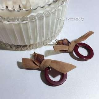復古絲絨蝴蝶結耳環