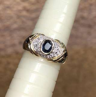 14kt sapphire diamond ring
