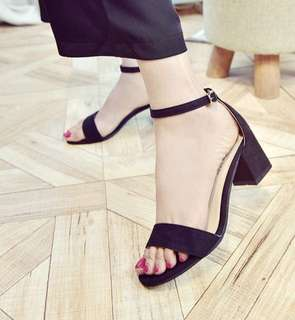 Preorder open toe block heels