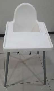 Baby High Chair with Tray & Safety Belt - White: Ikea (Solid, Strong Stable)