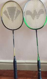 Badminton rackets selling for lot 2 pcs